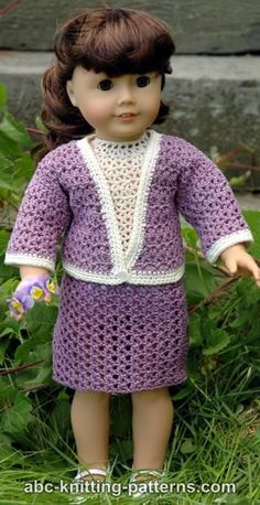 FREE crochet pattern for an American Girl Doll Crochet English Garden Suit by ABC Knitting Patterns.