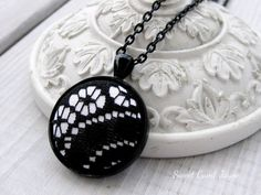 Lace Pendant Black and White Fabric Necklace by SweetCamiJayne