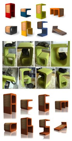 Look at this fun CAT FURNITURE camouflaged as letters! You could get an initial for your cat, or for yourself. FUN!