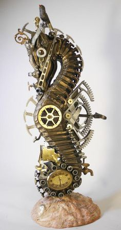 #Tech #Art: lost & found spare parts assembled in a #cyberpunk #seahorse ► http://bit.ly/VowGWa by Assemblique