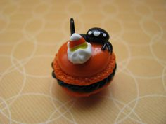 Spider candy corn halloween macaroon charm. $7.00, via Etsy. #kawaii #halloween #macaroon #spider