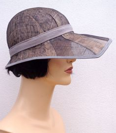 Retro summer hat gray and brown sinamay cloche, wedding hat, sun hat, 1920s inspired hat, art deco fashion, 20s accessory via Etsy