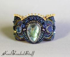 Reserved  Bead embroidered cuff  bracelet with by koolbeadedstuff, $140.00