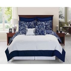 Shop for Enzo Navy and White 6 - 8-piece Reversible Comforter Set. Get free shipping at Overstock.com - Your Online Fashion Bedding Outlet Store! Get 5% in rewards with Club O! - 18523787