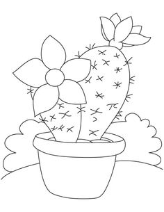 Large flower on cactus coloring page