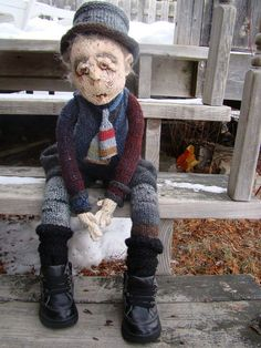 OOAK 28 inch Art Doll hand knitted rag doll cloth Old by Deena6A, $250.00