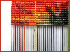 tissage de perles avec fil macramé - bead loom whith thread macramé - explications pattern