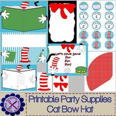 Cat In The Hat Inspired Printable Party Supplies  Cat by scrappng, $16.00