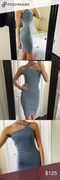 """Bianca Nero Periwinkle Cut Out Cocktail Dress 