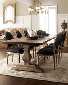 This- but two chairs longer and room for a chair on each end. I like chairs that aren't too tall.