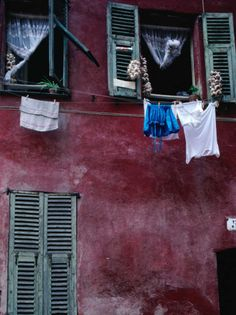 Laundry and Garlic Drying from Upstairs Window, Nice, Provence-Alpes-Cote d'Azur, France