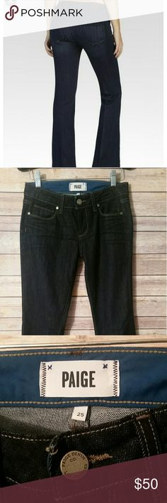 """PAIGE Skyline Boot Petite Jeans Dark washed denim. Excellent used condition,  worn sparingly! 69% Cotton // 30% Polyester // 1% Elastane Inseam measures approximately 30"""" Paige Jeans Jeans Boot Cut"""