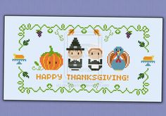 Mini People - Thanksgiving cross stitch pattern by cloudsfactory