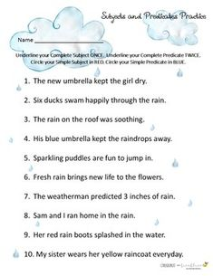 Subjects and Predicates Study Guide UPDATED RAINDROP EDITION!
