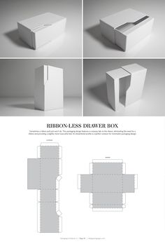 다양한 패키지 디자인 Ribbon-Less Drawer Box – structural packaging design dielines