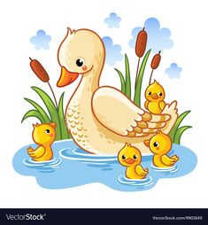 Vector illustration of a duck and ducklings. Mother duck swims in the lake with small ducklings around grass. Farm bird duck in cartoon style. Cartoon Cartoon, Cartoon Styles, Cartoon Birds, Baby Painting, Painting For Kids, Fabric Painting, Scenery Drawing For Kids, Easy Drawings For Kids, Bird Drawings