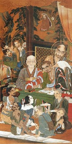 The 59th scroll Supernatural from The Five hundred Arhats (Gohyaku Rakan zu, 五百羅漢図) by Kanō Kazunobu (狩野 一信, 1816 – November 3, 1863)