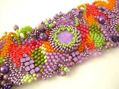 Freeform peyote bracelet in bright colours by ibics on Etsy