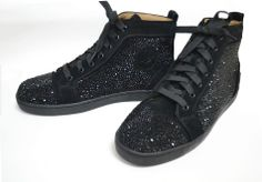 black crystal, christian louboutin strass shoes high top sneakers