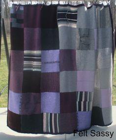 Blanket - Recycled Wool Sweaters - Plummy - by FeltSassy by FeltSassy on Etsy