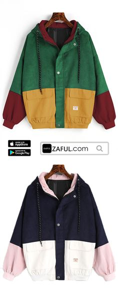 Hot sale,only $24.99,Limited time discount ,Sell hundreds of pieces a day.Hooded Color Block Corduroy Jacket,,see more autumn outfits autumn vibes in APP, enjoys more discount| #ZAFUL#JACKET