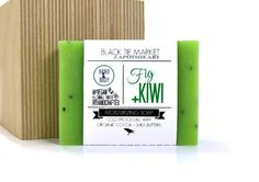 FIG + KIWI Cold Processed Soap Bar / Handcrafted Artisan Vegan Palm Free Moisturizing / Bright Green Spring Scent Fruity