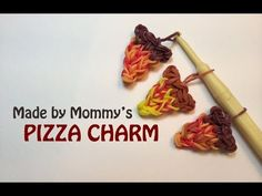 Rainbow Loom PIZZA CHARM. Designed and loomed by Made By Mommy. Click photo for YouTube tutorial.