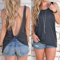 2016 New Arrival Summer Women Sexy Sleeveless Backless Shirt Knotted Tank Top Blouse Sexy Vest Tops T-shirt Open Back T-shirt Hot - Summer Outfits Backless Shirt, Backless Top, Sleeveless Shirt, T-shirt Dos Nu, Xl Mode, Look Fashion, Fashion Outfits, Womens Fashion, Fashion Trends