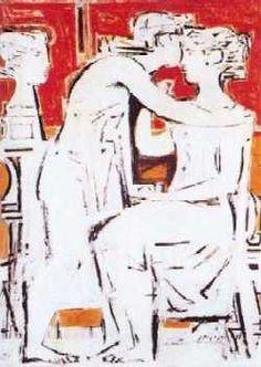 Funerary composition by Yiannis Moralis (Greek Modern Art, Contemporary Art, Street Art, Art Antique, Ecole Art, Art Database, Figure Painting, Figure Drawing, Great Artists