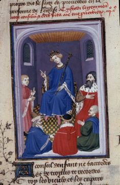 Harley 4431 fol 131v detail (Troilus and Priam). Paris, France 1410-1414.