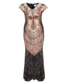 Roberto Cavalli White Embellished evening gown in Anthracite / Dusky-Pink