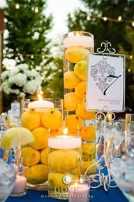 Lemons center pieces, bringing out the yellow.
