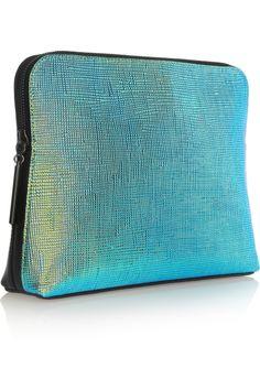 3.1 Phillip Lim|31 Minute iridescent textured-leather clutch|NET-A-PORTER.COM