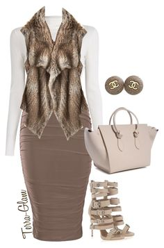 """""""Too Much Taupe"""" by terra-glam ❤ liked on Polyvore featuring A.L.C., Giuseppe Zanotti, Calypso St. Barth and Chanel"""