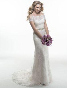 A-linje Rundad Kort ärm brudklänning - $219.99