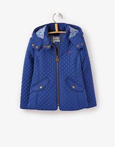 JNR MARCOTTE Girls Quilted Blue Coat with ditsy lined hood  RainJacketJoules fcfd100cad9b