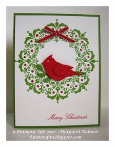 Daydream Medallions Wreath & Cardinal SUO by mraburn - Cards and Paper Crafts at Splitcoaststampers