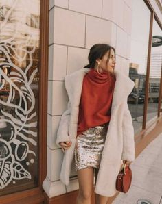 Holiday Sequins — Sarah Christine Red turtleneck sweater with an oversized collar and sequin skirt cute holiday Outfits Winter, Nye Outfits, Winter Skirt Outfit, Skirt Outfits, Casual Outfits, Fashion Outfits, Holiday Outfits Women, Vegas Outfits, Holiday Clothes