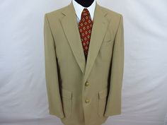 Stafford Mens Blazer Sport Coat Jacket 44L Classic Tan 2 Button Gold Buttons #Stafford #TwoButton