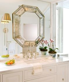Venetian mirror mounted on wall to wall mirror. Love the mirror mounted sconces in this white bathroom. Bad Inspiration, Bathroom Inspiration, Mirror Inspiration, Beautiful Bathrooms, Modern Bathroom, Design Bathroom, Bathroom Interior, White Bathrooms, Beautiful Mirrors