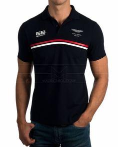 Polos Hackett Azul Marino - AMR DBL Stripe Polo Tees, Polo Shirt, T Shirt, Tee Design, Logo Design, Style Masculin, Camisa Polo, Mens Golf, Vinyl Designs