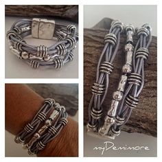 leather Bracelet multistrand summer beaded leather