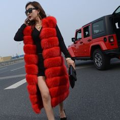 long red-dyed fox fur sleeveless coat