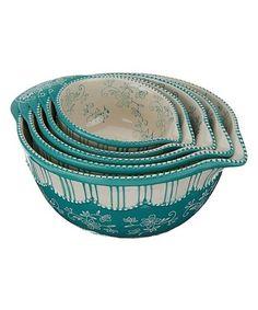 Teal Floral Lace Pour-Spout Bowl - Set of Five #zulily #zulilyfinds