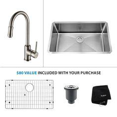 """Kraus KHU100-30-KPF-1622 Kitchen Combo - 30"""" Undermount Single Basin 16-Gauge St Stainless Steel / Satin Nickel Fixture Kitchen Sink Combination"""
