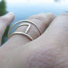 """22 Likes, 4 Comments - @minimalgeometric on Instagram: """"Orbital / arc / lines - minimalist adjustable silver ring #simple #sculpturalring #geometric…"""""""