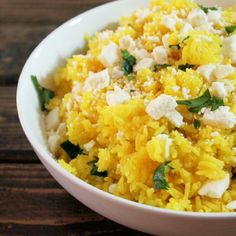 Yellow Rice with Turmeric, Citrus, and Feta Cheese.