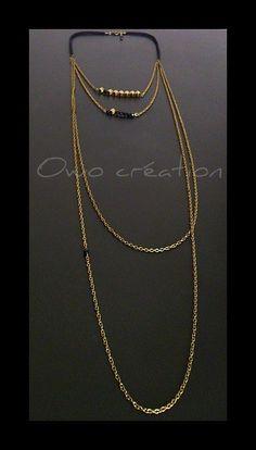 Collier Sautoir cordon cuir (daim) noir + perles dorées et noires