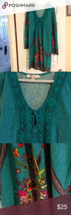 Repost Anthro sweater dress Cute Anthro sweater dress, amazing detail. Anthropologie Dresses Midi