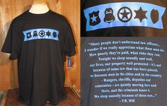 The Texas Ranger Museum Gift Shop has received new t-shirts featuring the Thin Blue Line with badges of various law enforcement agencies on the front and a quote from P.B. Hill on the back.Available in adult small to 3x-large 100% cotton $25.00 Please call (877) 750-8631 or email thestore@texasranger.org to purchase one today. Sales from the Gift Shop benefit the preservation and education activities of the Museum.